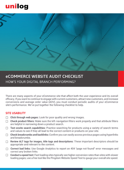 Datasheet: Unilog eCommerce website Audit Checklist