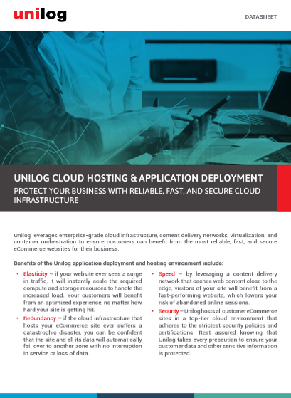 Datasheet:Unilog Cloud Hosting and Application Deployment