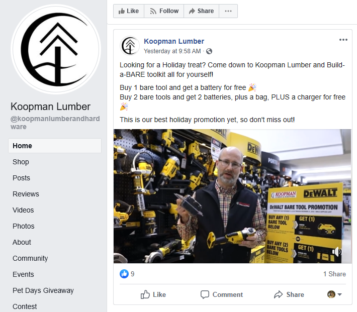 Koopman Lumber Facebook Post