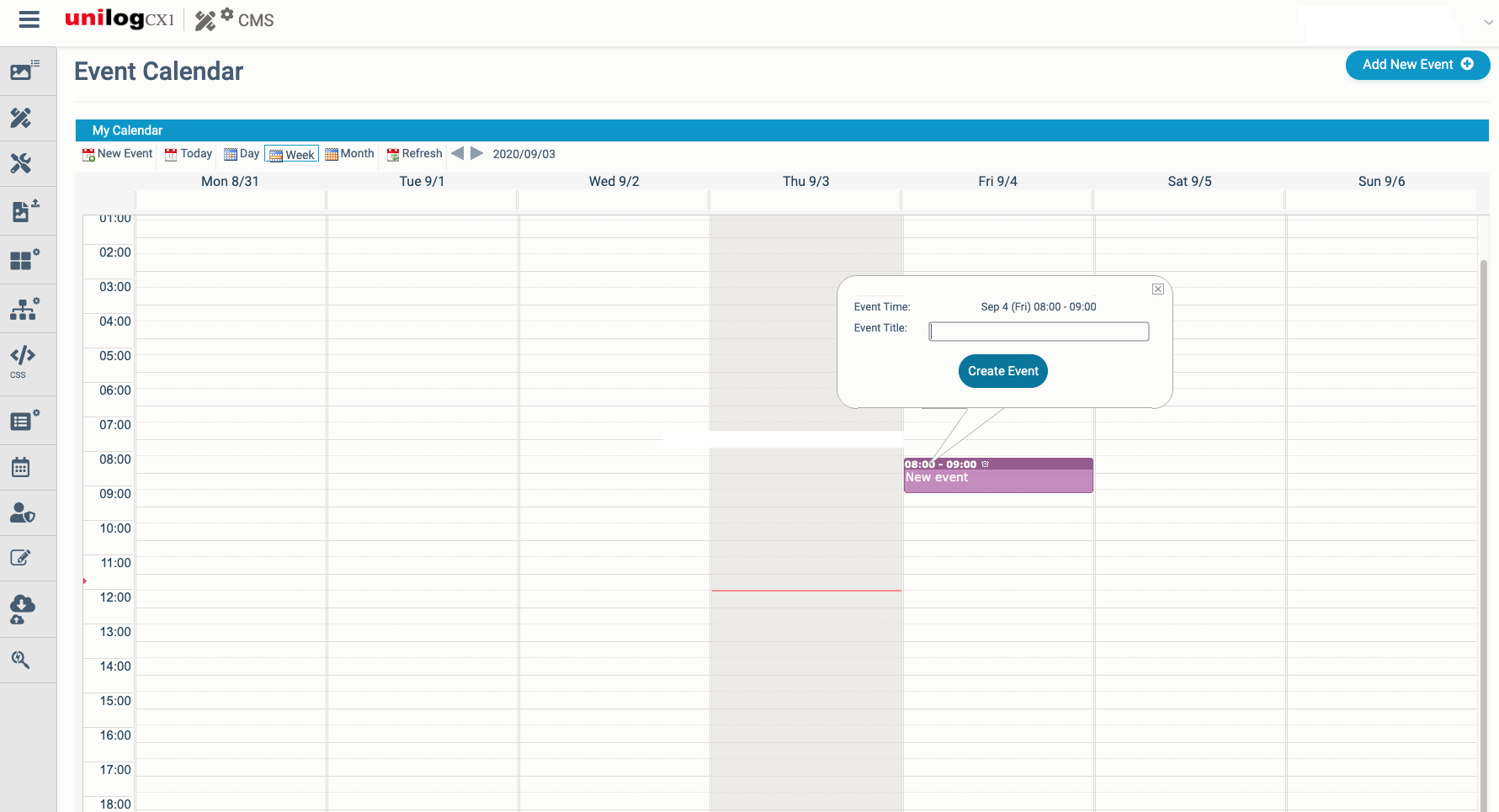 Unilog CMS- Includes the ability to schedule events with Event Management tool